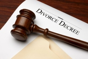 Divorce decree paperwork, family law attorney