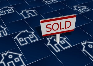 Sold pin on a house, real estate