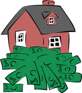 icons of dollar bills with a house, Chicago real estate lawyer