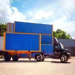 shipping container loaded in a truck